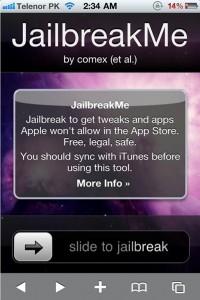 un iPhone dopo essere stato sbloccato con il Jailbreak per iOs